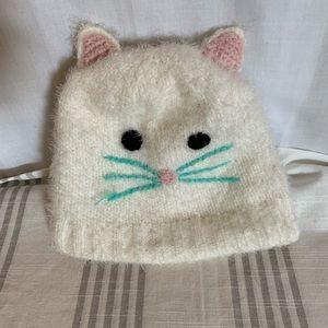 Off white Kitten hat. Fleece lined